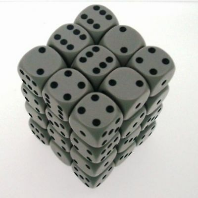 Set 36 d6 12mm Dice CHESSEX Opaque Grey black 25810 Dice Block Grey black CHX