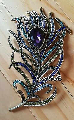 Large Colourful Peacock Feather Antique Gold Rhinestone Diamante Brooch Pin