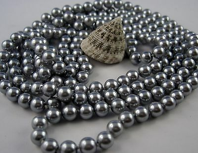 Extra Long Bead chain Art Deco Style knotted 168 - 170 cm Silver shiny