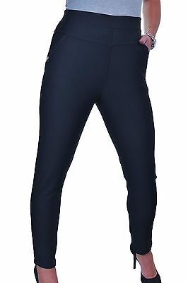 Womens High Rise Stretch Waist Leggings Trousers Side Pockets Navy Blue 14-20
