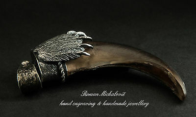 Sterling Silver & Real Bear Claw Pendant/Charm in shape of Bear Paw