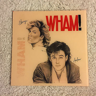 VINTAGE RARE WHAM! GEORGE MICHAEL Andrew Ridgeley Plate Glass Picture 12x12