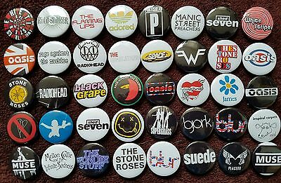 Indie Rock 90's Button Badges x 40 (Set 3). Wholesale. Collector. Bargain :0)