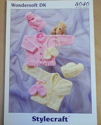"""Stylecraft Girls Cable Cardigan Hat Knitting Pattern For Sizes 12-22"""" Sty 8040"""