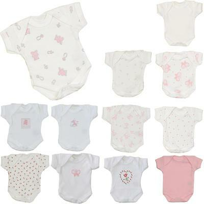 Premature Tiny Small Baby Girls Clothes 2 Pack Bodysuits Vests 1.5 - 7.5lb - Imp