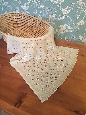 Beautiful  Lace Baby Blanket 100 % Pure Lambswool col. Cream