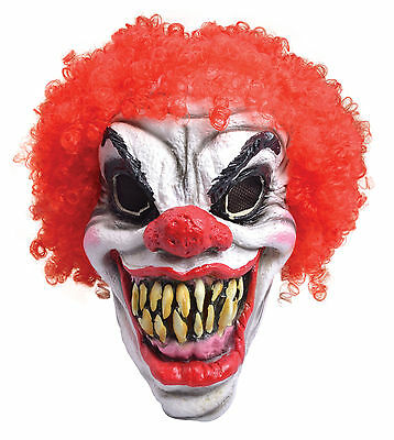 Scary Horror Clown Mask Foam With Red Hair And Big Teeth Jaws Evil Circus