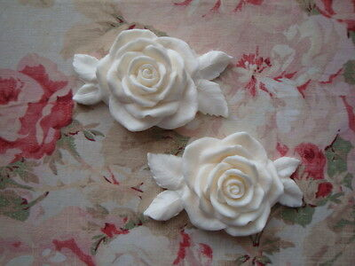 NEW! Shabby & Chic LARGE ROSE & LEAVES 2 pcs. Furniture Appliques Architectural