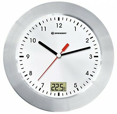 Bresser Wall Clock MyTime Bath For Bathroom With Temperature Display - White/