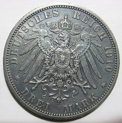 1910A - Germany - 3 Mark  Silver Coin