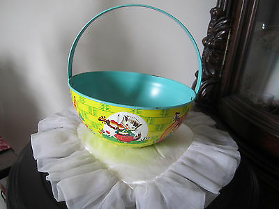 Vintage J CHEIN Tin Litho Easter Basket with Fairy Tale Nursery Rhymes