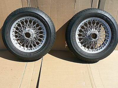 Two (2) Austin Healey 100-6 3000 MGA 60 Spoke Painted Wire Wheels & Tires 100 6