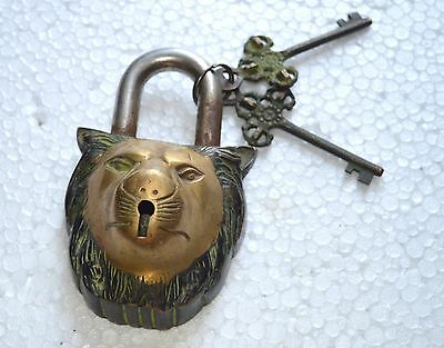 Lion Face Shape Antique Brass Hand Crafted Heavy Padlock With 2 Key LK-17