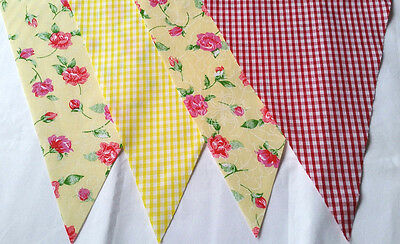 Yellow w Red Roses & Gingham Bunting Bundles Pastel Fabrics 20ft /6m lengths