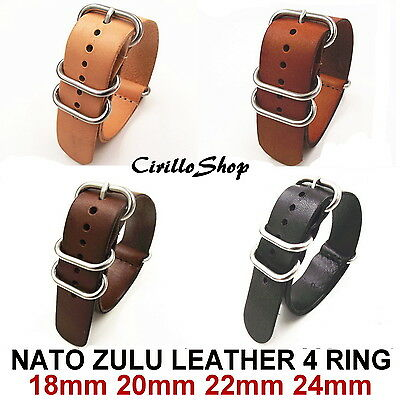 BANDS STRAPS WATCH LEATHER G10 NATO ZULU 18mm 20mm 22mm 24mm BLACK BROWN DARK