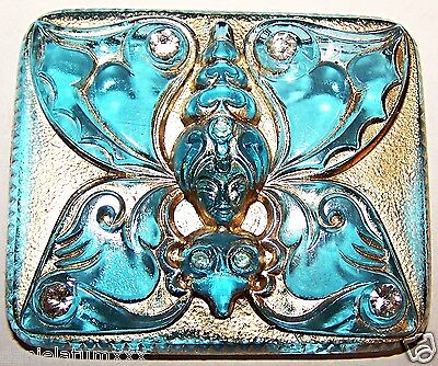 VINTAGE CZECH AQUA BLUE glass BUTTON - BUTTERFLY/LADY with rhinstones