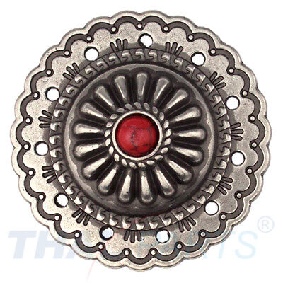 Concho #063 35mm Western Jumbo Concho Antik Silber Stein Rot Conchos Concha