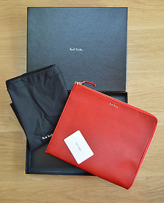 PAUL SMITH red Saffiano leather iPad Kindle tablet document holder case bag