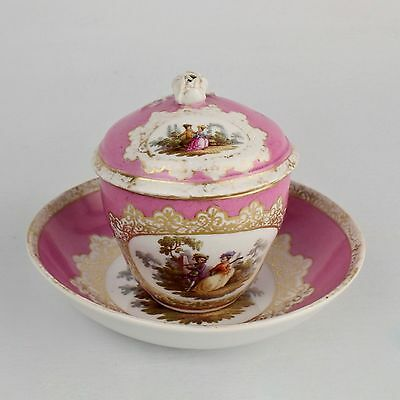 Rare Antique Pink Ground Meissen Cup & Saucer w Cover - Tea Coffee Chocolate PC