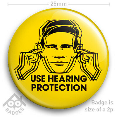 """Factory Records USE HEARING PROTECTION poster Hacienda Badge 25mm 1"""" NEW"""