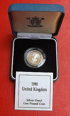 1990 Silver Proof One Pound In Blue Box And Coa