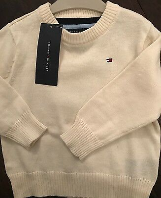 Tommy Hilfiger Baby Boy Jumper 12 months Cream Brand New with Tags