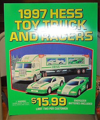 """HESS POSTER 1997 TOY TRUCK AND RACERS HEAVY VINYL 18"""" x 15"""""""