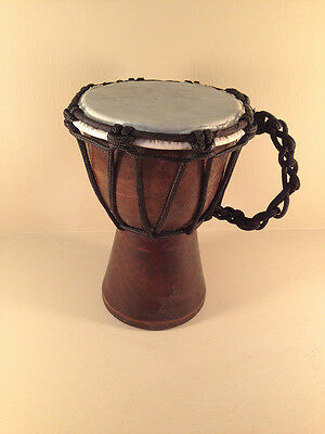Unique Individually Hand-Made Mini Djembe Drum (15cm) with Cord Handle Hide