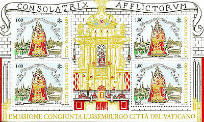 Vatican City 2016 MNH Patroness Virgin Mary 350 Yrs JIS Luxembourg 4v M/S Stamps