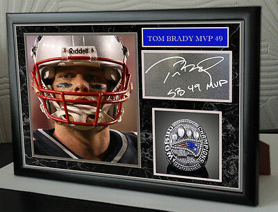 "Tom Brady  New England Patriots SB49 Framed Canvas Portrait Signed ""Great Gift"""