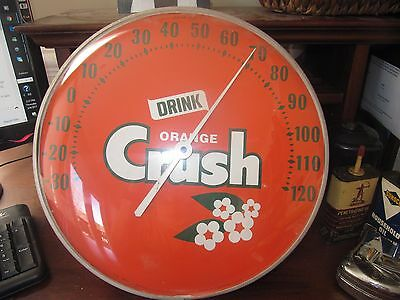 vintage Orange Crush glass face thermometer