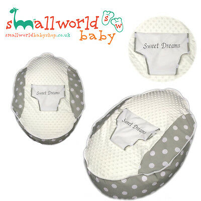 Personalised Boys Girls Grey Polka Dot Baby Bean Bag (NEXT DAY DISPATCH)