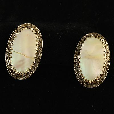 Vintage Earrings Mid Century Gold Tone Abalone Shell Clip On Cracked Filigree