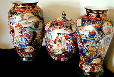 two japanese vases and one ginger jar