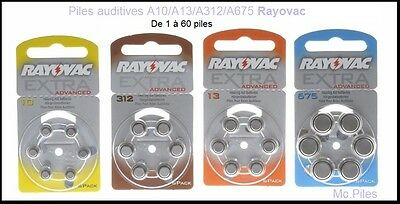 Lot de piles boutons auditives Rayovac, appareils auditifs A10/A13/A312/A675