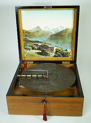 Large Antique Kalliope Disc Music Box With Bells
