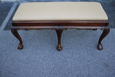 Gorgeous Chippendale Mahogany Long Carved Bench/Seat, New Upholstery