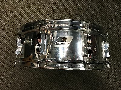 Used Ludwig 14x5 Snare Drum Black/White Badge w/ Chrome Wrap