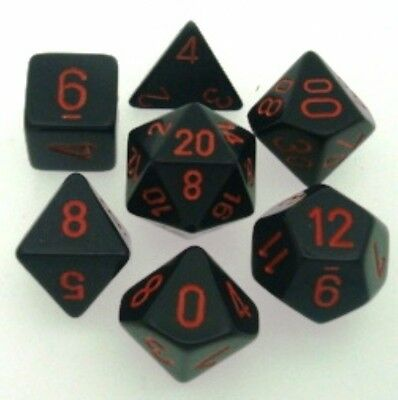 Set 7 Dice CHESSEX Opaque Black red 25418 Opaque Black red dice dice Die CHX