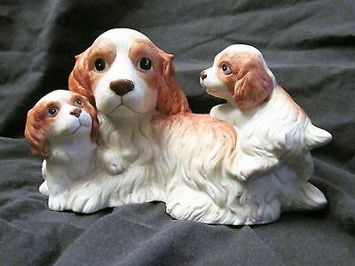 Cocker Brittany Spaniel Dog Canine Family Mother Two Pups Figurine Homco #1434
