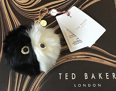Genuine TED BAKER LOLAA Fluffy Character Keyring Bag Charm Black and White NEW