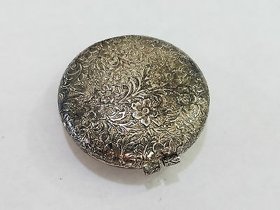 Antique Silver-Plated  Powder Compact - 4714