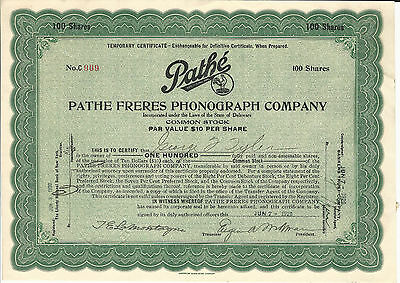 1920 Pathe Freres Phonograph Co Stock Certificate Phonograph Machines & Records