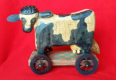 Rustic Wooden Cow Heifer Cattle on Wheels Country Farm Animals Decor Ornament