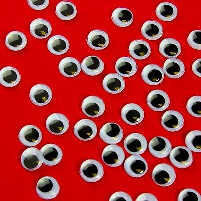 400 X 10mm WIBBLY WOBBLY GOOGLY EYES. CRAFTS, STICKERS SELF ADHESIVE lots more!