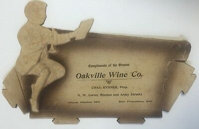 Circa 1910 Oakville Wine Co., San Francisco, Die-Cut Advertising Sign