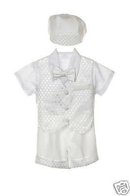 Infant Boy & Toddler Christening Church Formal Vest Shorts Suit white S M - 4T