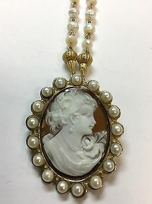 Gold 47x38mm Vintage Carved Shell Cameo Pendant Gem Stone Antique 17 Pearls