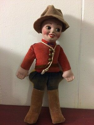 """Norah Wellings Horace The Mountie Felt Doll Painted Face Signed 7.5"""" RCMP"""