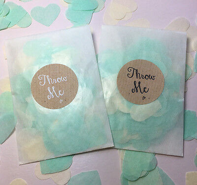 Glassine Bags Throw Me Stickers Mint Green & Ivory Biodegradable Confetti